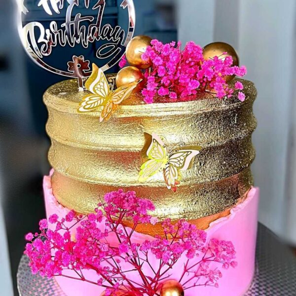 Gold Pink Floral Cake
